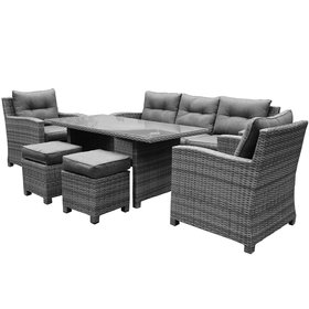 AVH-Collectie New Castle stoel-bank dining loungeset 6-delig  antraciet