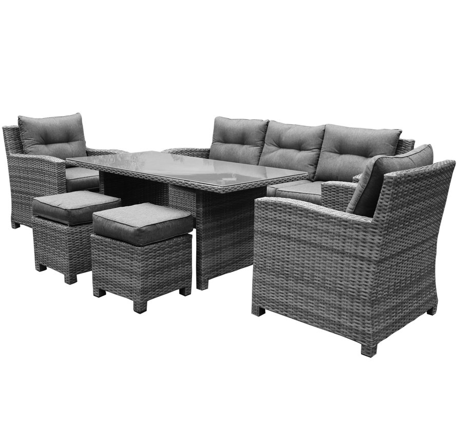 New Castle stoel-bank dining loungeset 6-delig  antraciet