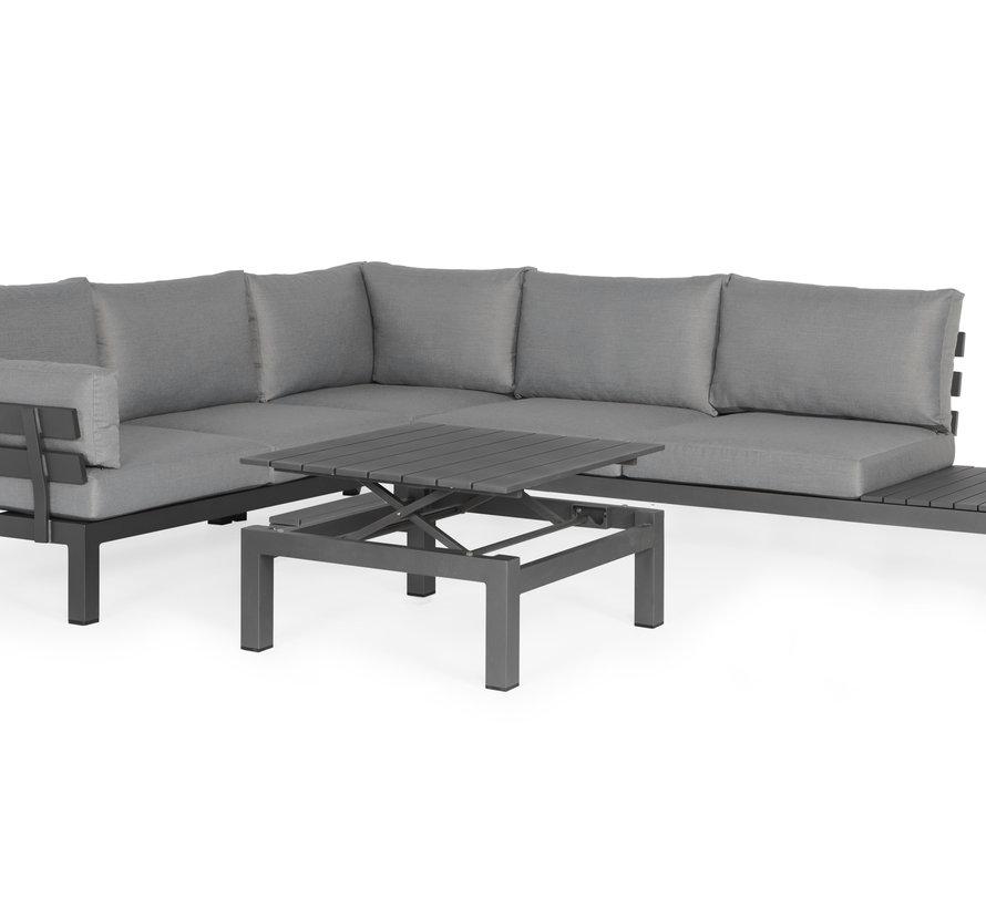 SUNS Vita hoek loungeset 4 delig verstelbaar wased grey / matt royal grey armleuning rechts