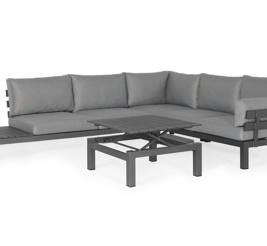 SUNS Vita hoek loungeset 4 delig verstelbaar wased grey / matt royal grey armleuning links