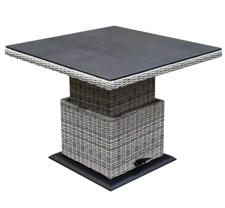 Bilbao dining hoek loungeset 4 delig wit verstelbare tafel vierkant