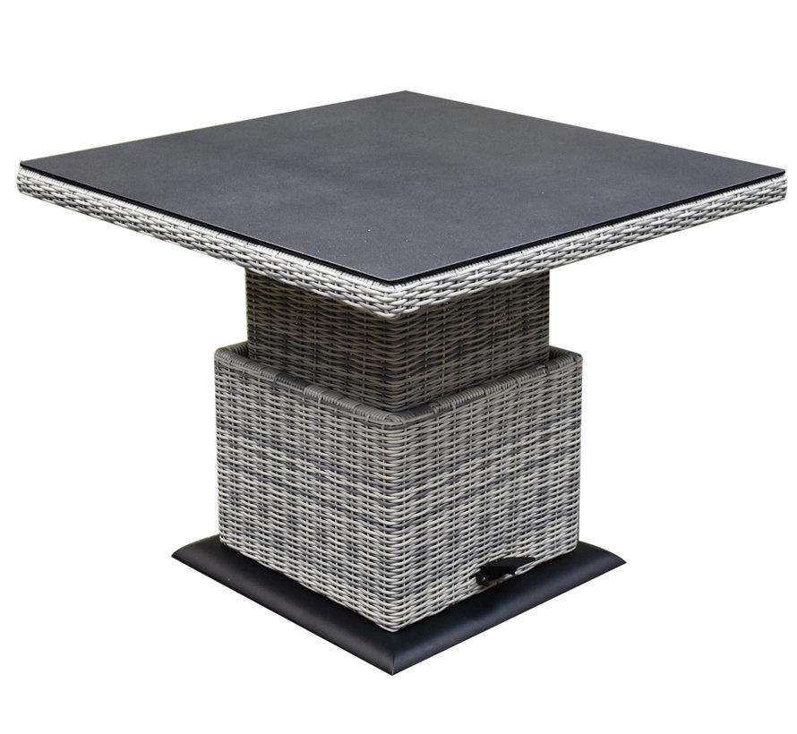 Bilbao dining hoek loungeset 8 delig wit verstelbare tafel vierkant