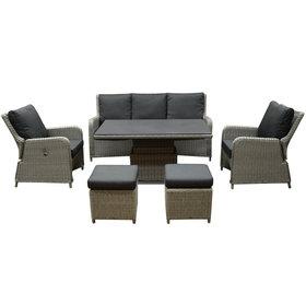 AVH-Collectie Bilbao stoel bank dining loungeset 6 delig grijs met verstelbare tafel