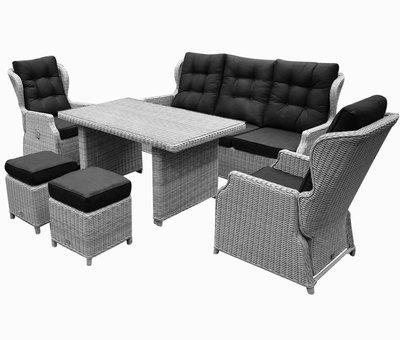 AVH-Collectie Ibiza XL stoel-bank loungeset verstelbaar 6-delig wit grijs