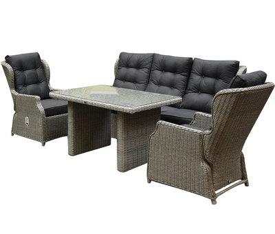 AVH-Collectie Ibiza XL stoel-bank loungeset 4-delig verstelbaar grijs