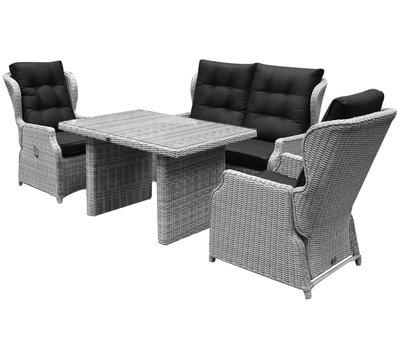 AVH-Collectie Ibiza XL stoel-bank loungeset 4-delig verstelbaar wit-grijs