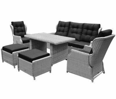 AVH-Collectie Ibiza XL stoel-bank loungeset 6 delig verstelbaar wit grijs