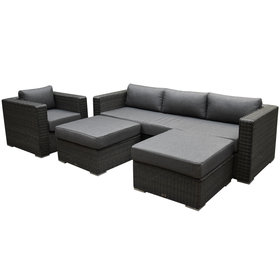 Matino premium chaise longue loungeset 4 delig antraciet