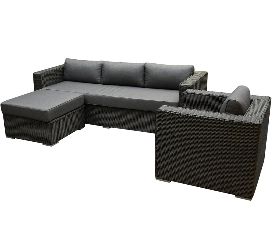 Matino premium chaise longue loungeset 3 delig antraciet
