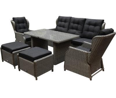AVH-Collectie Ibiza XL stoel-bank loungeset 6-delig verstelbaar grijs