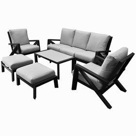 AVH-Collectie Fortaleza stoel bank loungeset 6 delig antraciet aluminium