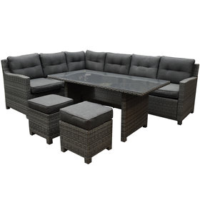 AVH-Collectie Valencia dining hoek loungeset 5-delig links antraciet wicker
