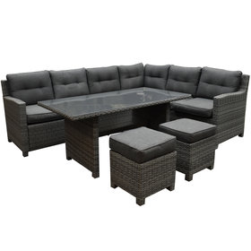 AVH-Collectie Valencia dining hoek loungeset 5-delig rechts antraciet wicker