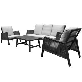 AVH-Collectie Vitoria stoel bank loungeset 4 delig antraciet aluminium rope