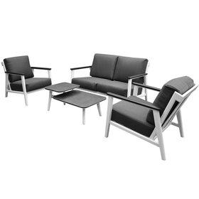 AVH-Collectie Albina stoel bank loungeset 4 delig aluminium wit