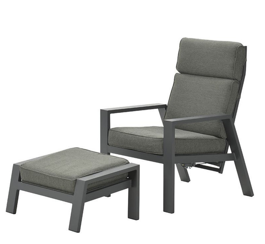Max lounge balkonset 2 delig verstelbaar aluminium carbon black mosgroen