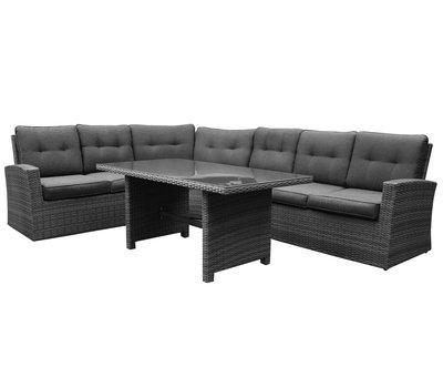 AVH-Collectie Houston XL hoek dining loungeset 5 delig antraciet
