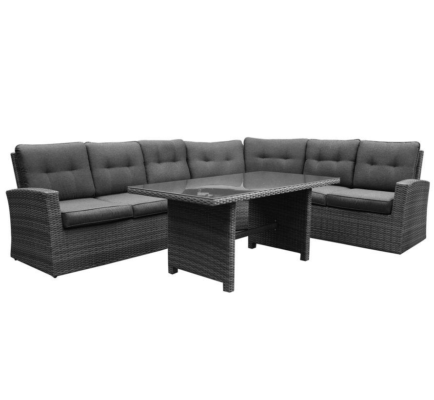 Houston XL hoek dining loungeset 5 delig antraciet