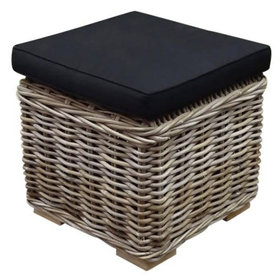 AVH-Collectie Nissah voetenbank 43x43xH43 cm naturel rotan - olefin black