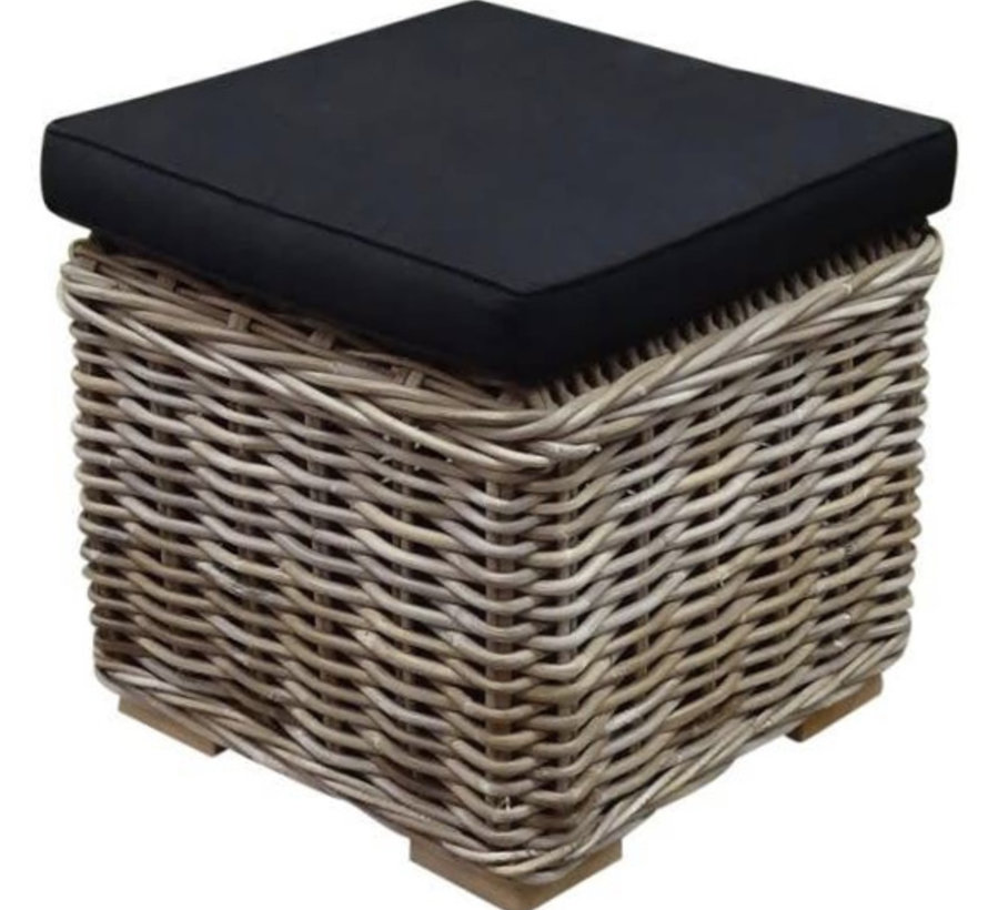 Nissah voetenbank 43x43xH43 cm naturel rotan - olefin black