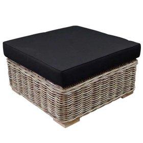 AVH-Collectie Nissah voetenbank 75x75xH43 cm naturel rotan - olefin black