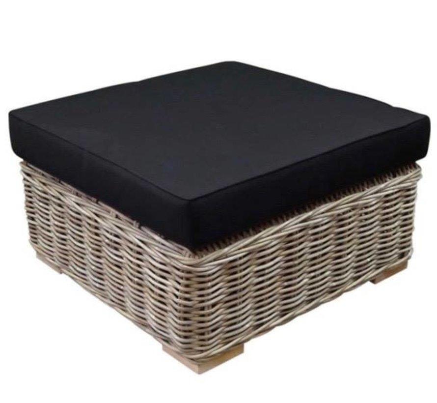 Nissah voetenbank 75x75xH43 cm naturel rotan - olefin black
