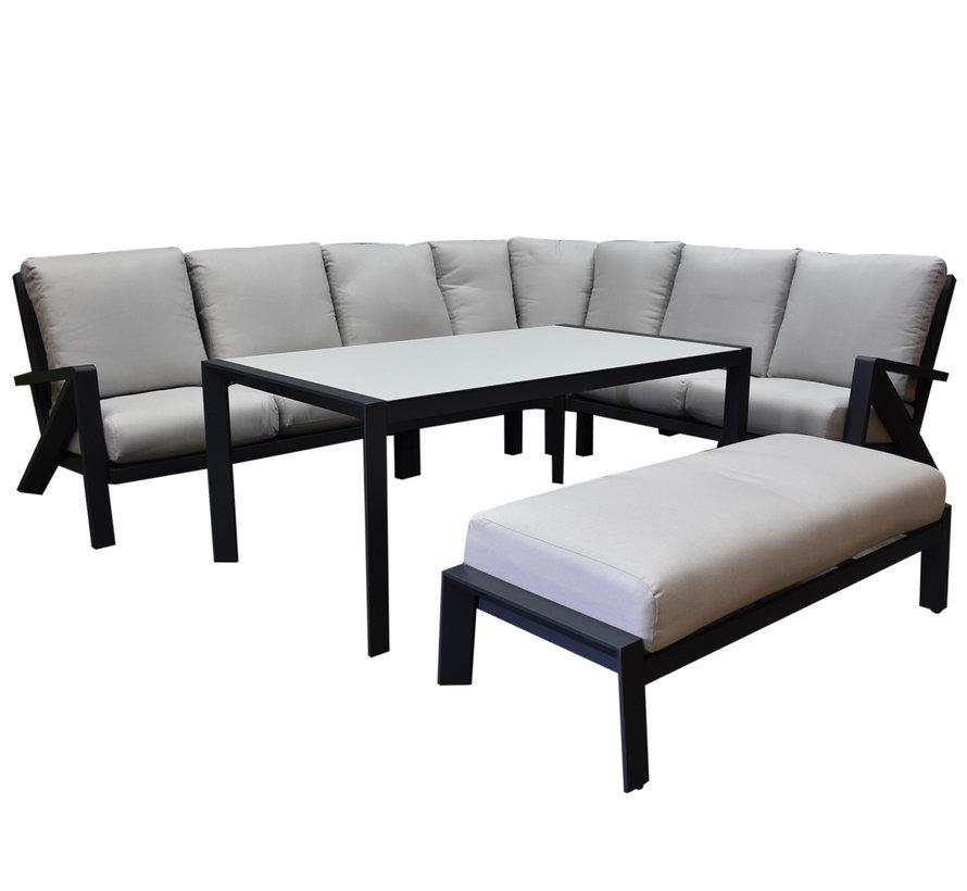 Fortaleza dining hoek loungeset 6 delig antraciet aluminium