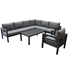AVH-Collectie Fabri hoek loungeset 6 delig aluminium antraciet