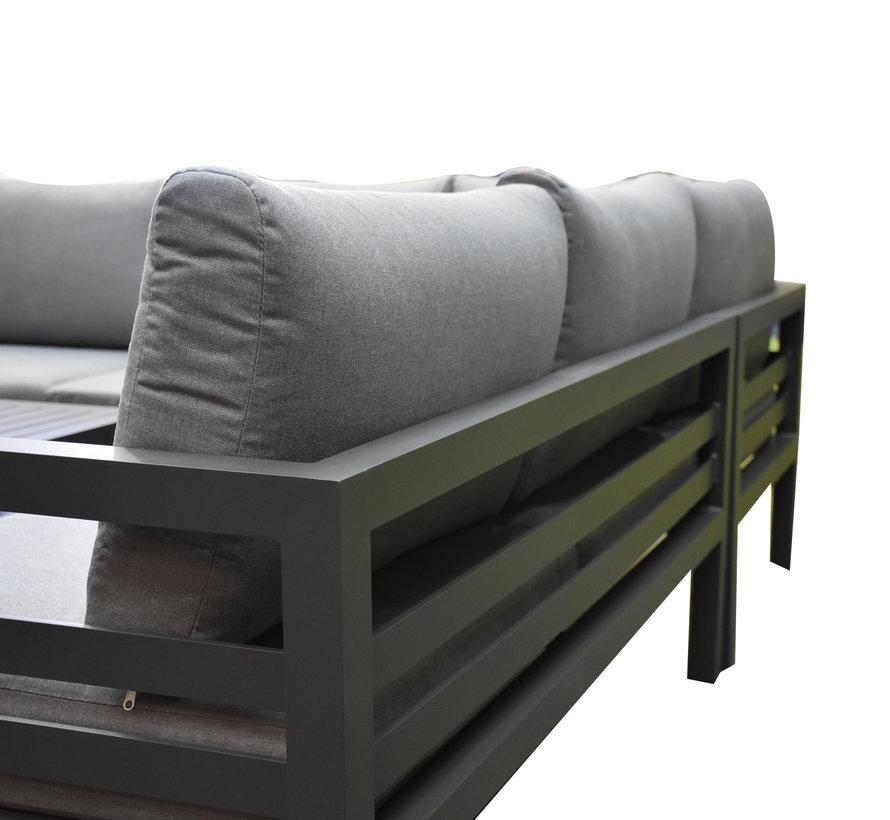 Fabri hoek loungeset 5 delig aluminium antraciet