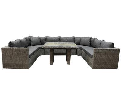 AVH-Collectie Roma U hoek dining loungeset 6-delig grijs