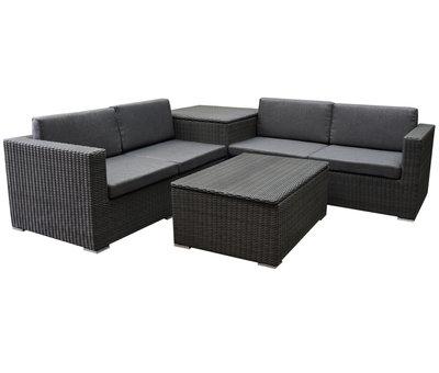 Saba premium hoek loungeset 4-delig met opbergboxen antraciet
