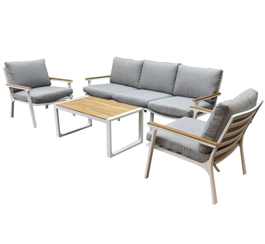 Porto stoel-bank loungeset 4-delig wit aluminium teak