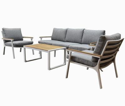 AVH-Collectie Porto stoel-bank loungeset 4-delig wit aluminium teak