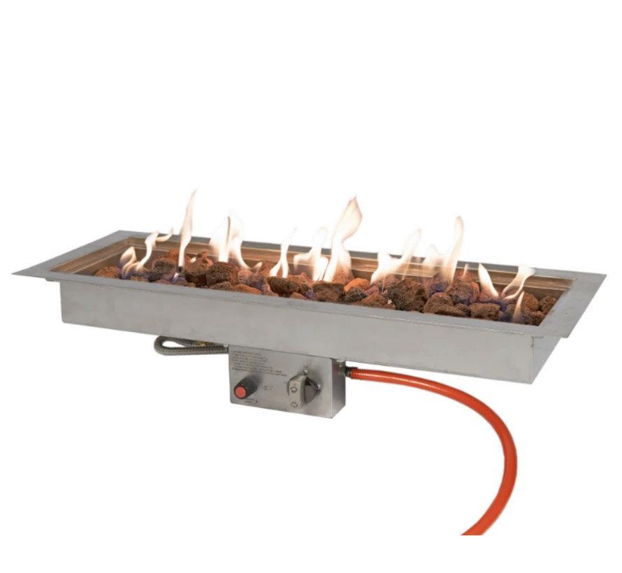 Easyfires inbouwbrander rechthoek 76x26 cm RVS