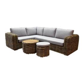 AVH-Collectie Sumatra hoek loungeset 4-delig naturel rotan