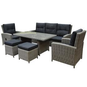 AVH-Collectie San Marino stoel-bank dining loungeset verstelbaar 6-delig  grijs