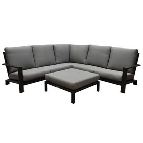 AVH-Collectie Lincoln hoek loungeset 4-delig antraciet aluminium