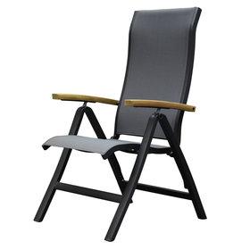 SUNS Milano standenstoel verstelbaar aluminium antraciet met armleuning  teak
