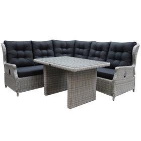 AVH-Collectie Ibiza hoek dining loungeset 4-delig verstelbaar wit grijs 120cm tafel