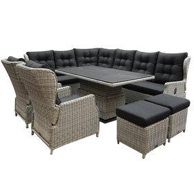 AVH-Collectie Ibiza dining verstelbare hoek loungeset 9 delig wit grijs met verstelbare tafel rechthoek