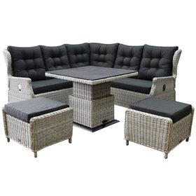 AVH-Collectie Ibiza dining verstelbare hoek loungeset 6 delig wit grijs met verstelbare tafel vierkant
