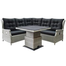 AVH-Collectie Ibiza dining verstelbare hoek loungeset 4 delig wit grijs met verstelbare tafel vierkant