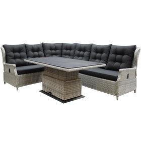 AVH-Collectie Ibiza dining verstelbare hoek loungeset 5 delig wit grijs met verstelbare tafel