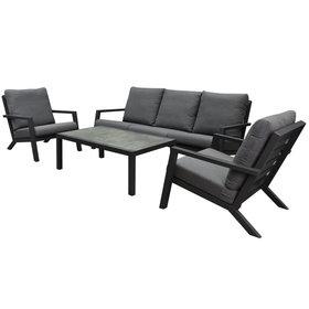 AVH-Collectie Malaga stoel-bank loungeset 4-delig antraciet aluminium