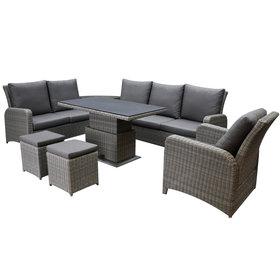 AVH-Collectie Florida hoek dining loungeset 8-delig verstelbare tafel bruin-grijs