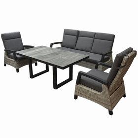 AVH-Collectie Dallas stoel bank loungeset 4 delig verstelbaar