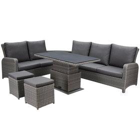AVH-Collectie Florida hoek dining loungeset 7-delig verstelbare tafel bruin-grijs