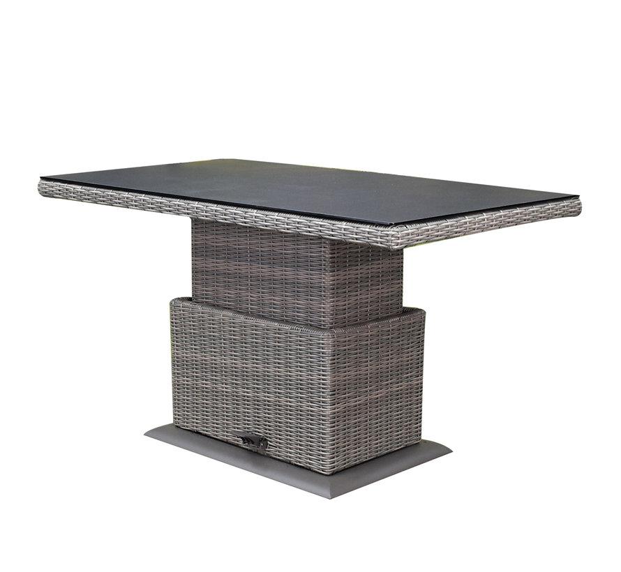 Florida hoek dining loungeset 7-delig verstelbare tafel bruin-grijs