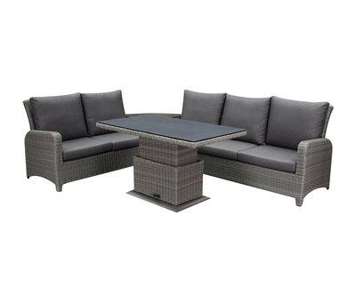 AVH-Collectie Florida hoek dining loungeset 5-delig verstelbare tafel bruin-grijs