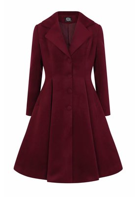 Hearts and Roses Hearts & Roses 1950s Lauren Vintage Swing Coat Wine